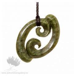 NZ pounamu Greenstone necklace DOUBLE KORU