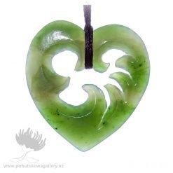 New Zealand Ponamu Greenstone Wave Heart