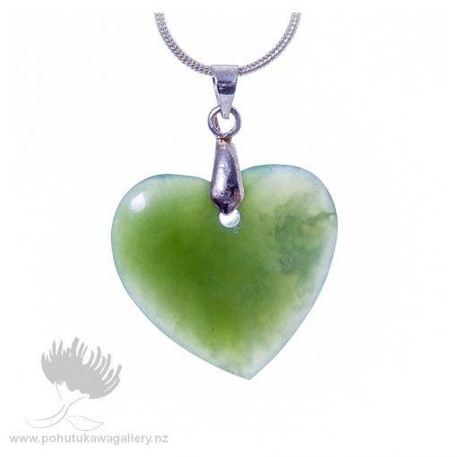 New Zealand Ponamu Greenstone Heart on Chain