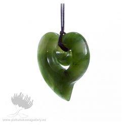 New Zealand Ponamu Greenstone Koru Heart